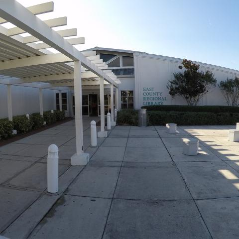 Exterior shot of East County Regional Library