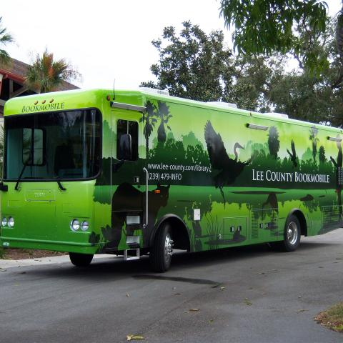 Bookmobile photograph bright lime green full size bus
